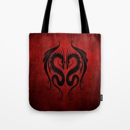 Black and Red Twin Tribal Dragons Tote Bag