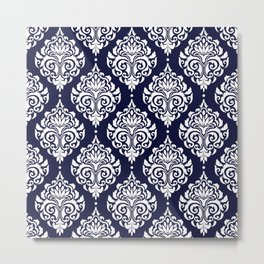 Blue Damask Metal Print
