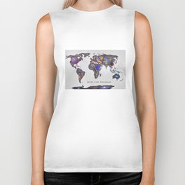"""Star map. Never stop exploring...II"". World map. Biker Tank"