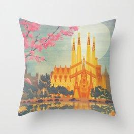 Barcelona Spain Vintage Travel Poster Throw Pillow