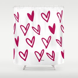 Lovely hearts - fuchsia heart pattern Shower Curtain