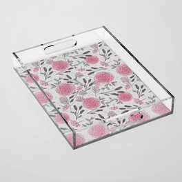 Soft and Sketchy Peonies Acrylic Tray