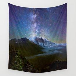 Milky Way Over Mount Rainier Wall Tapestry
