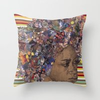 afro Throw Pillows featuring Afro by Chris McArdle