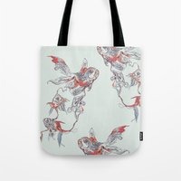 huebucket Tote Bags featuring Floating in Deep by Huebucket