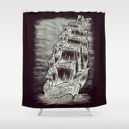 Caleuche Ghost Pirate Ship Variant Shower Curtain