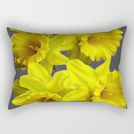 YELLOW SPRING DAFFODILS & CHARCOAL GREY COLOR Rectangular Pillow