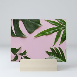 Tropical Palm Leaf Pink Background Mini Art Print