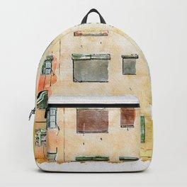 Aquarelle sketch art. Colorful houses in Girona, Catalonia, Spain Backpack