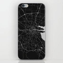 Black on Light Gray Dublin Street Map iPhone Skin