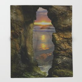 Perranporth Sunset, Cornwall, England, United Kingdom Throw Blanket