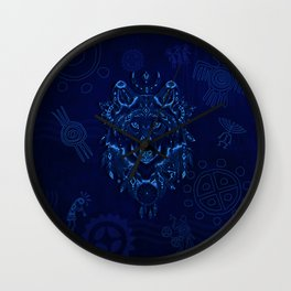 Sacred Blue Wolf Wall Clock