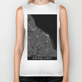 Buenos Aires Black Map Biker Tank