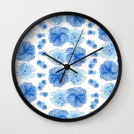 Blue Floral Pattern #2 #drawing #decor #art #society6 Wall Clock