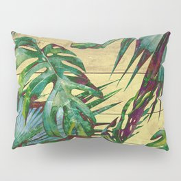 Tropical Palm Leaves on Wood Pillow Sham