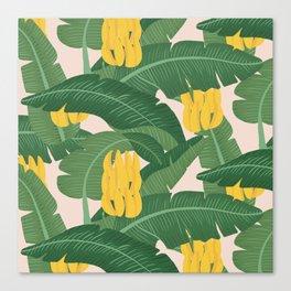 Bananas and Leaves - Bg Pink Canvas Print
