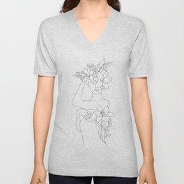 Minimal Line Art Woman with Flowers VI Unisex V-Neck