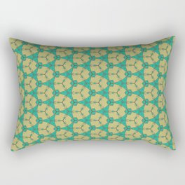 Hex Pattern 65 - Taupe/Turquoise Rectangular Pillow