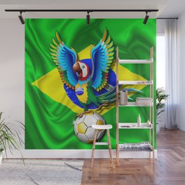 Brazil Macaw Parrot with Soccer Ball Wall Mural