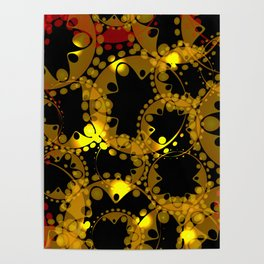 abstract glowing pattern of gears and spheres in red gold on a black background for fabrics o Poster