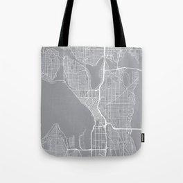 Seattle Map, Washington USA - Pewter Tote Bag