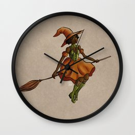 Little Witch on Paper Wall Clock
