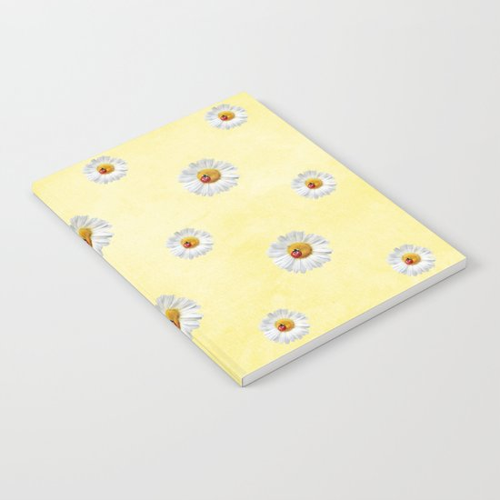 Daisies in love- Yellow Daisy Flower Floral pattern with Ladybug on #Society6 Notebook