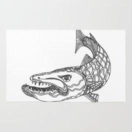 Barracuda Fish Doodle Art Rug