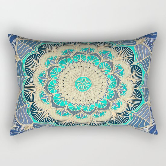 Midnight Bloom - detailed floral doodle in gold, navy blue & mint Rectangular Pillow