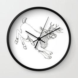 Jackalope Hopping Doodle Art Wall Clock