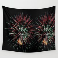fireworks Wall Tapestries featuring Fireworks by Carlo Toffolo
