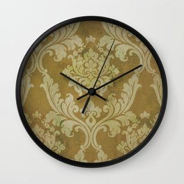 Shabby Glam Damask Pattern in Mustard Wall Clock