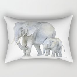 Mother and Baby Elephants Rectangular Pillow
