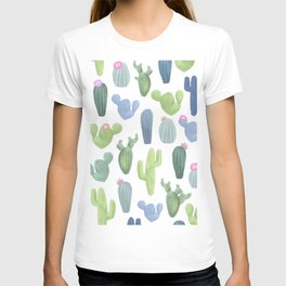 watercolor cacti plants pattern T-shirt