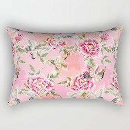 Japanese style pink crane bird pattern Rectangular Pillow