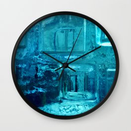 355 - Abstract Design through the Blue Bottle Wall Clock