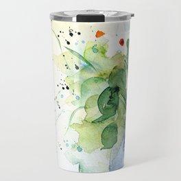 Daisies - Watercolor Flowers In The Vase Travel Mug
