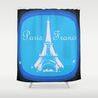france Shower Curtains featuring Paris France by WhimsyRomance&Fun