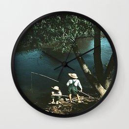 "Vintage Rockwell-Like Photo ""Gone Fishing"" Wall Clock"