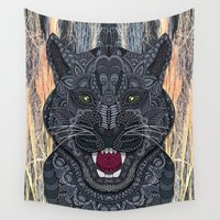 panther Wall Tapestries featuring Panther by ArtLovePassion
