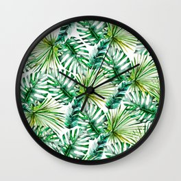 Modern hand painted green watercolor tropical foliage Wall Clock