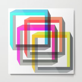 Colorful impossible 3D shapes overlapping. Metal Print