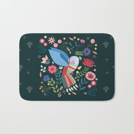 Folk Art Inspired Hummingbird With A Flurry Of Flowers Bath Mat