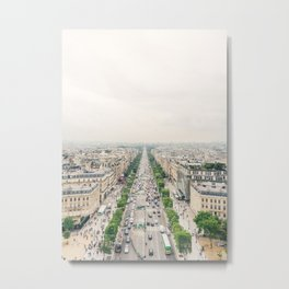 Aerial view of the Champs-Élysées in Paris, France Metal Print