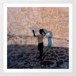 Child with bag color Art Print