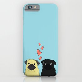 Pugs In Love Blue iPhone Case