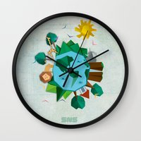 planet Wall Clocks featuring Planet by Design SNS - Sinais Velasco