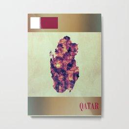 Qatar Map with Flag Metal Print