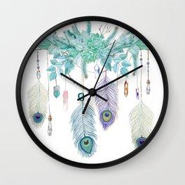 Peacock And Eucalyptus Crystal Spirit Gazer Wall Clock