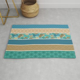 Bohemian Flower Striped Print Rug